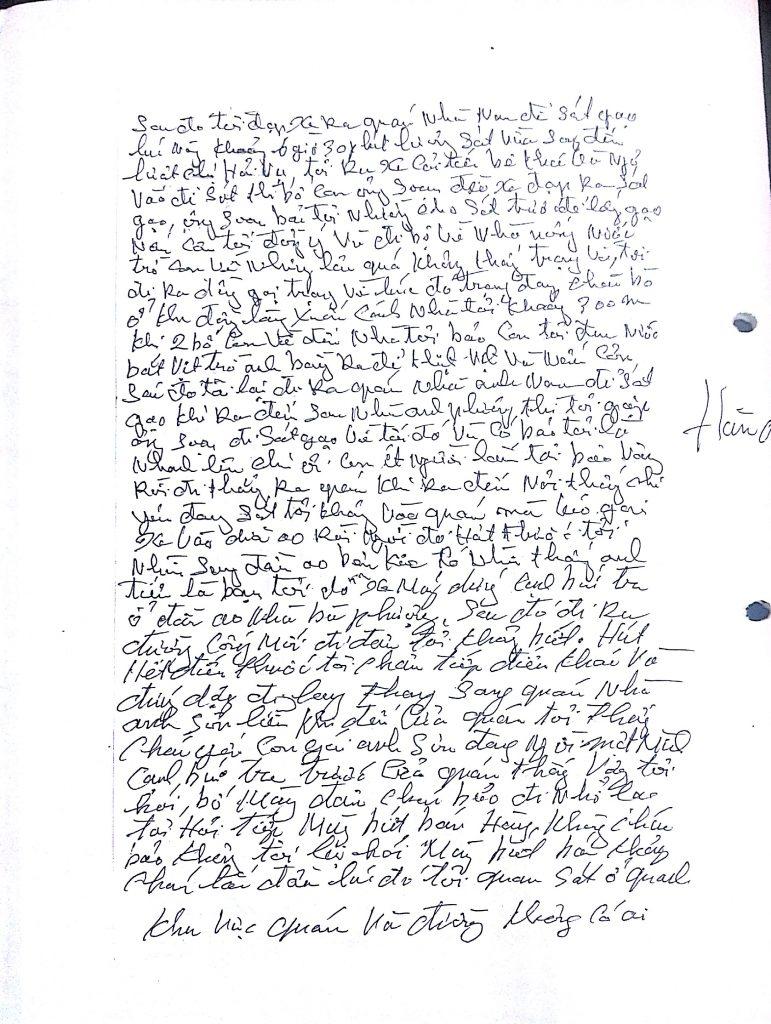 Đơn xin tự thú của ông Hàn Đức Long, trang 2.