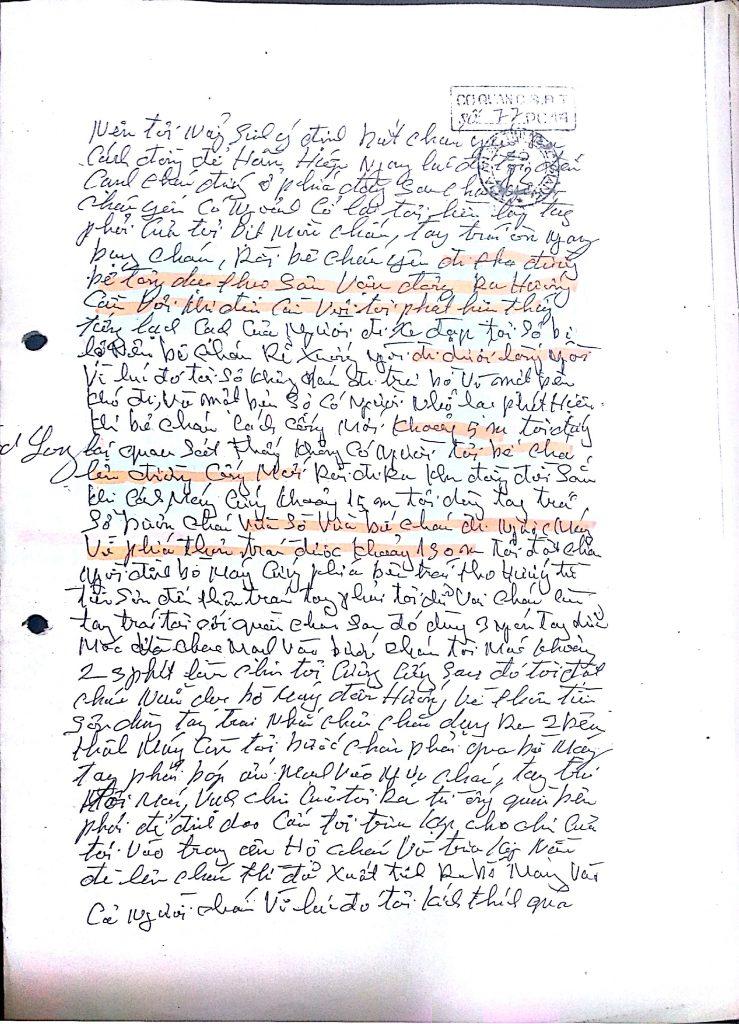 Đơn xin tự thú của ông Hàn Đức Long, trang 3.