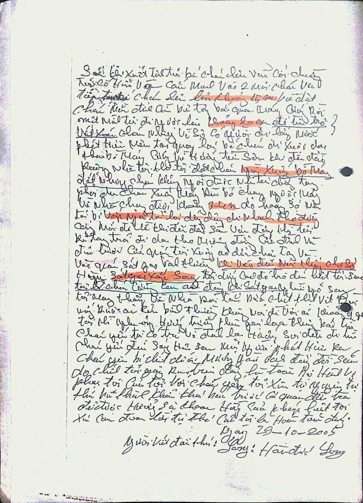 Đơn xin tự thú của ông Hàn Đức Long, trang 4.