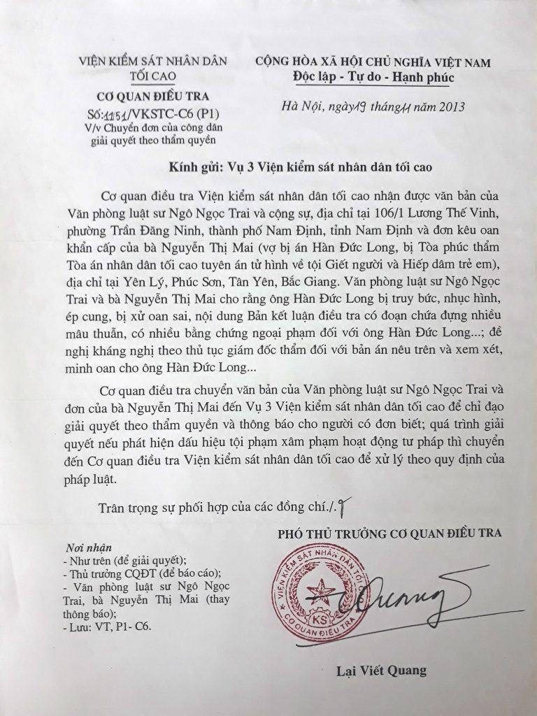 Văn bản của Viện kiểm sát tối cao về xử lý đơn thư trả lời ý kiến kêu oan cho tử tù Hàn Đức Long.