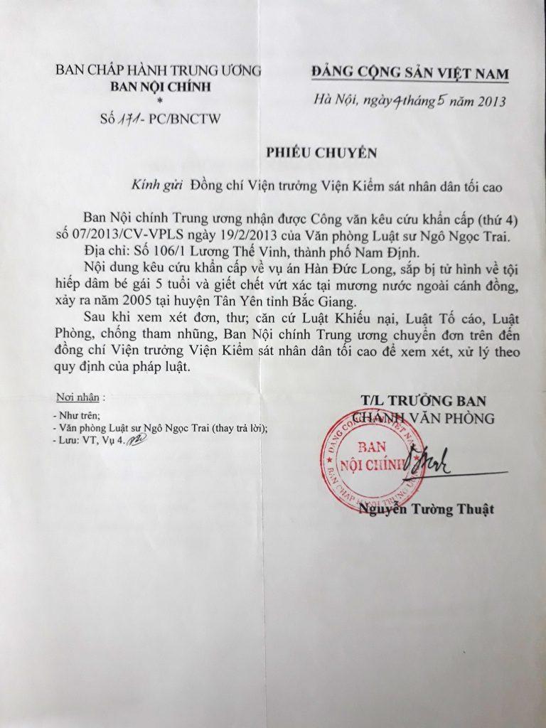 Ban nội chính trung ương chuyển ý kiến của luật sư kêu oan cho tử tù Hàn Đức Long.